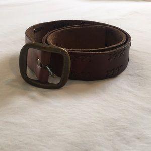 Vintage American Eagle Brass Buckle Leather Belt